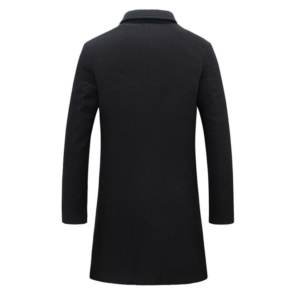 2019 Fashion Men's Wool Coat Winter Warm Solid Color Long Trench Jacket Male Single Breasted Business Casual Overcoat Parka 3
