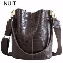 Crocodile Women Shoulder Bag Ladies Bucket Handbag PU Leather Large Messenger Bag  Zipper Pocket 2019 Fashion Bolsa Feminina