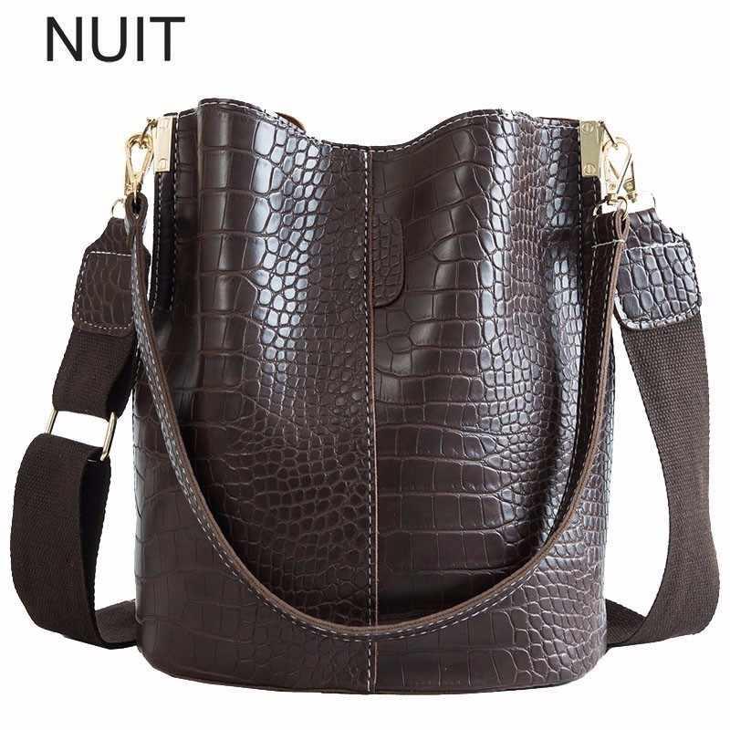 c099f66794a5 Crocodile Women Shoulder Bag Ladies Bucket Handbag PU Leather Large  Messenger Bag Zipper Pocket 2019 Fashion