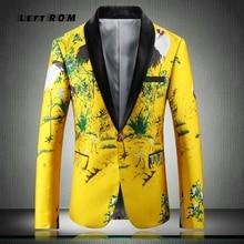 Yellow Suit Jacket Luxury Men Print Blazer Slim Fit Floral M