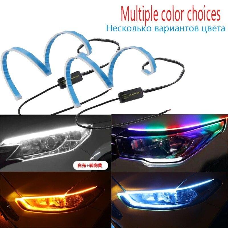 UNHO 2PCS Luces de Circulaci/ón Diurna Universal y Impermeable Tiras de Luces LED DRL 12V para Coche Tira del Faro Delantero 45cm Azul-Amarillo