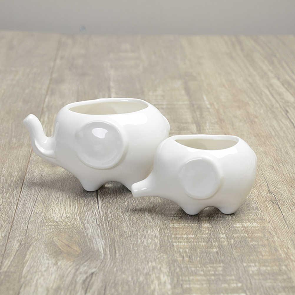 2 個かわいい象植木鉢現代のホワイトセラミック多肉植物プランターポット小さな花植物容器