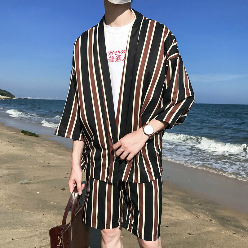 Men's Summer Two Piece Clothing Sets Tracksuit Men Striped Cardigan Blouse+ Shorts Outwear Beach Suit Hawaii Vacation Clothes