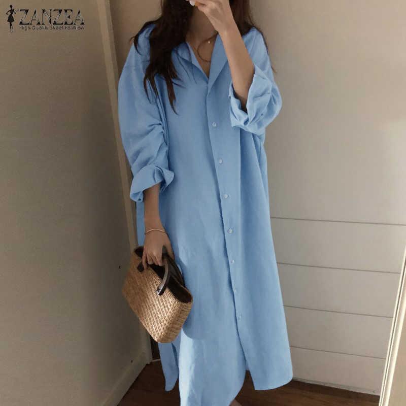 f090f82c 2019 ZANZEA Button Down Shirt Dress Women Solid Maxi Dresses Female Lapel  Oversized Vestido Robe Femael