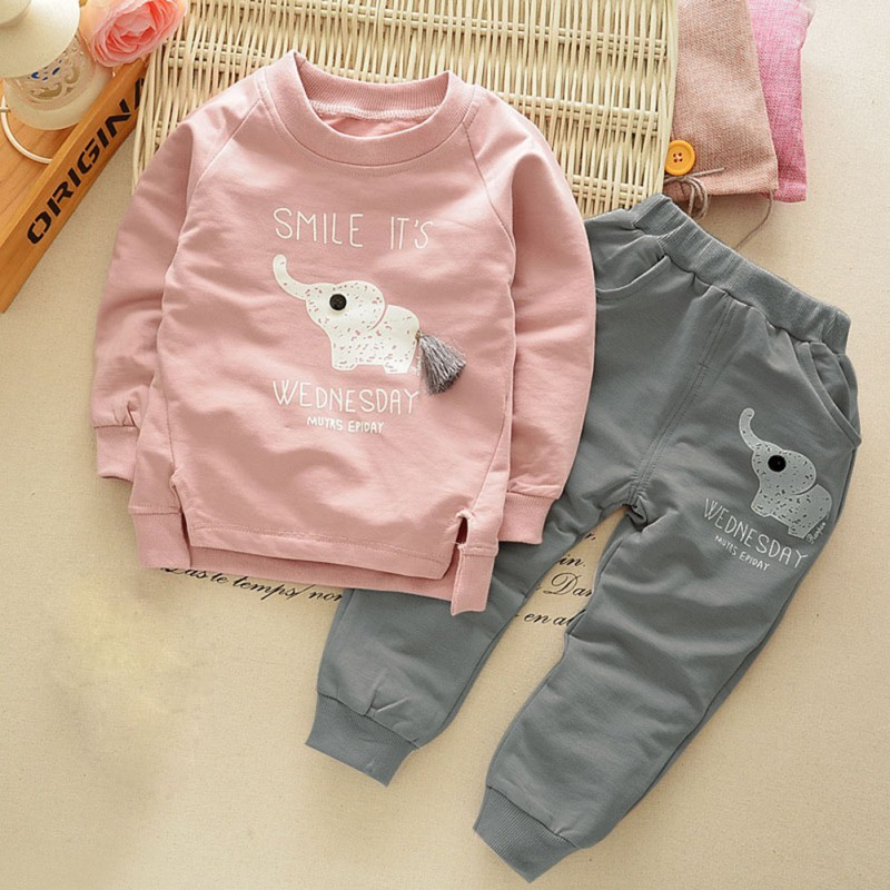 Kids Clothing Sets Baby Boys Girls Cartoon Elephant Cotton Winter Children Clothes T-Shirt+Pants Suit Free Shipping(China)