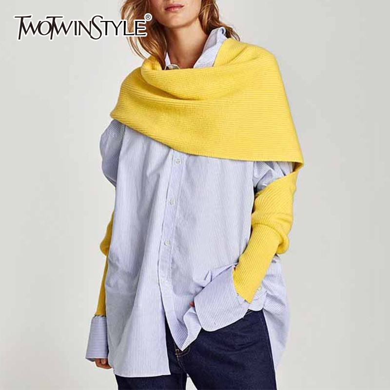 TWOTWINSTYLE Korean Women Scarf Gray Plus Thick Warm Knitting Scarves For Women 2019 Autumn Casual Accessories Fashion Tide