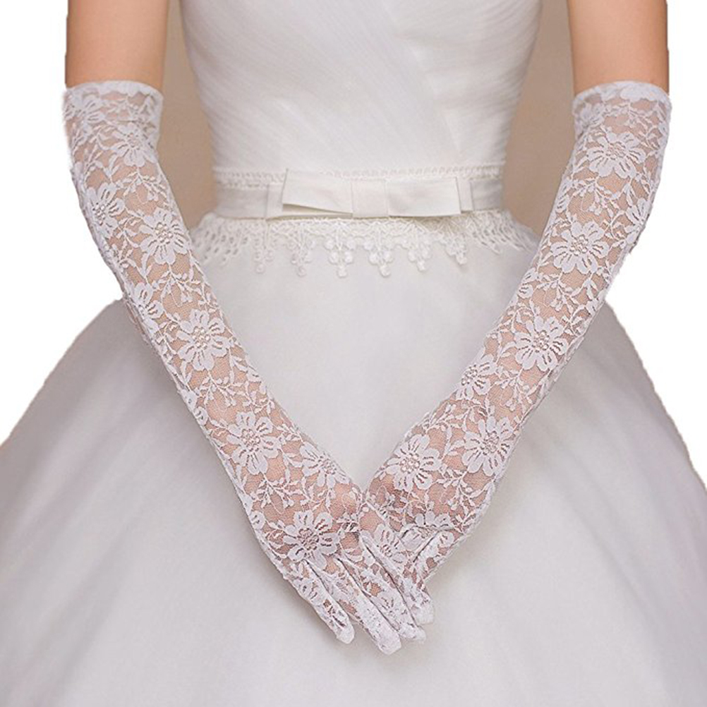Fashion Long Lace Bridal Gloves Bride Dress Gloves For Wedding Engagemet Evening Party