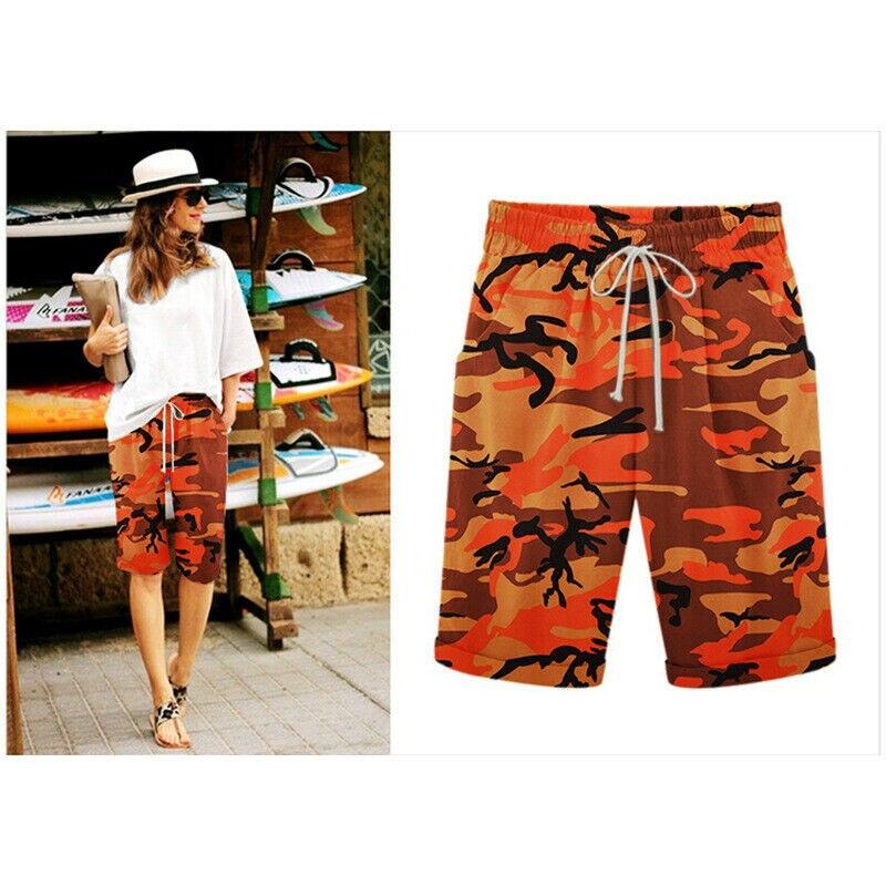 Summer new Womens Loose Camo Shorts Trousers Beach Drawstring Waist Hot Plus Size