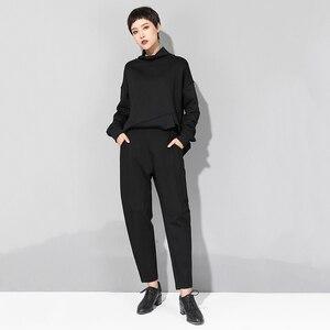 Image 4 - Женские брюки с высокой эластичной талией EAM, черные свободные брюки комбинированного кроя, весна осень 2020