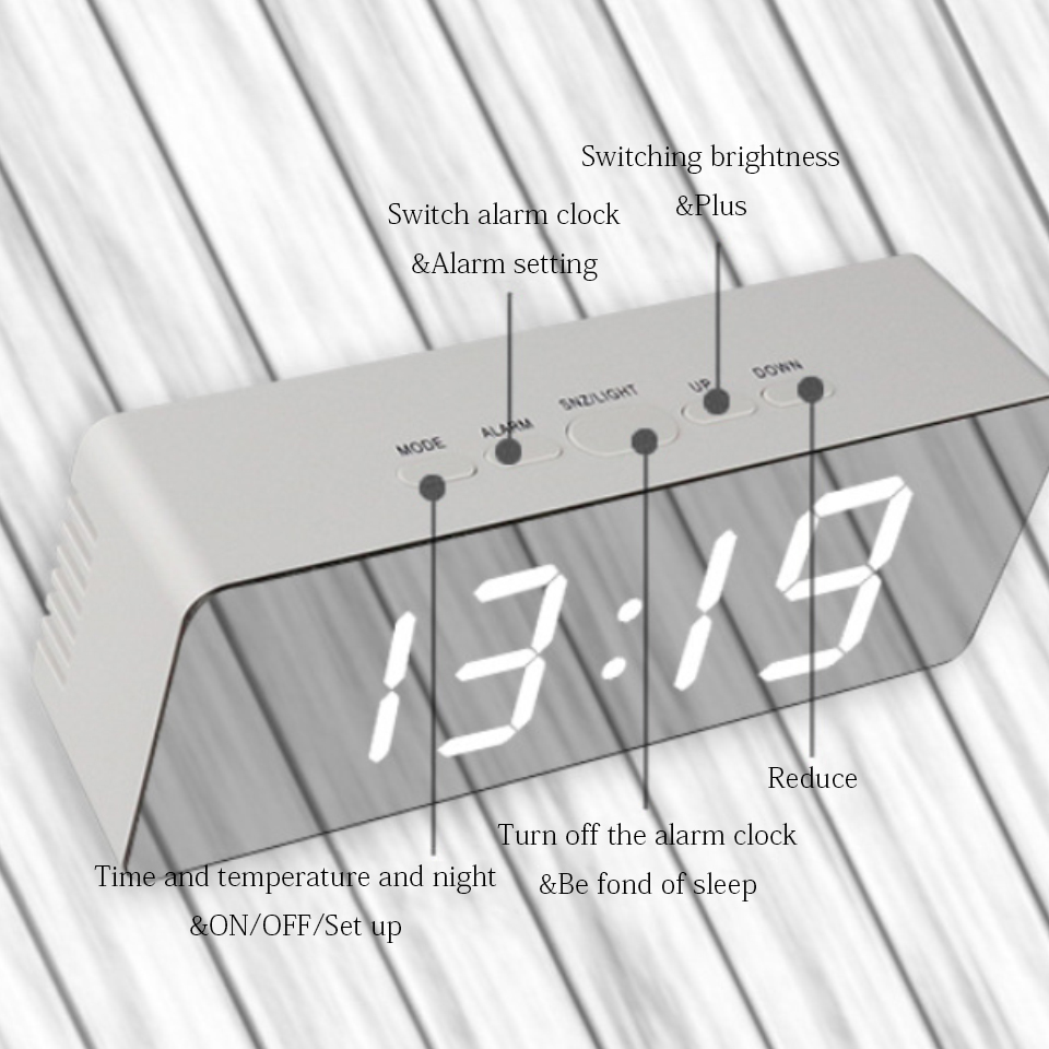Image 4 - Led Mirror Alarm Clock Digital Snooze Table Clock With Thermometer USB Rechargeable Large Electronic Display Multifunction-in Alarm Clocks from Home & Garden