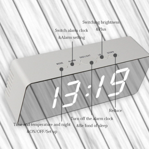 Image 3 - Led Mirror Alarm Clock Digital Snooze Table Clock With Thermometer USB Rechargeable Large Electronic Display Multifunction