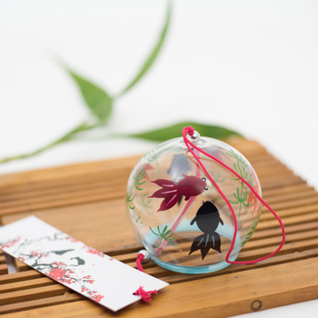 Glass Wind Chimes Japanese-style Wind Chime Simple and Beautiful Label Pendnat Chimes Wind Bells(Pattern 2) 6