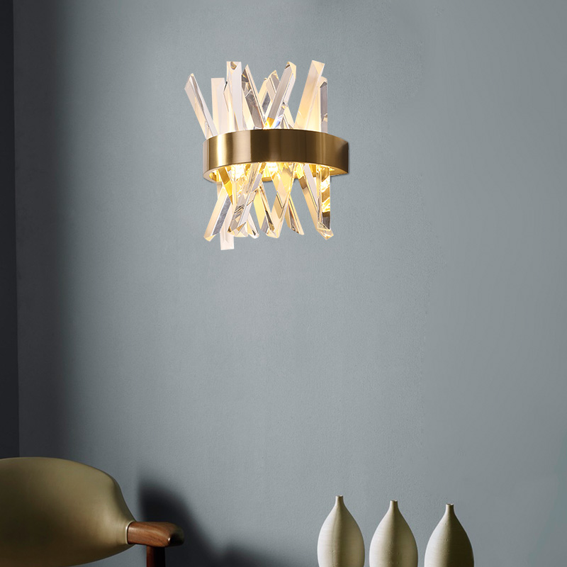 Modern Crystal wall light For Living Room Luxury Stainless Steel crystal wall lamp home light Gold wall sconce AC 110V 220V in LED Indoor Wall Lamps from Lights Lighting