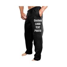 Мужские эластичные повседневные брюки на заказ, хлопковые спортивные брюки для фитнеса, штаны для бега с принтом логотипа/текста/фото