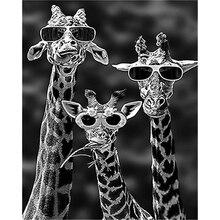 5D DIY Diamond Painted Stone Sunglasses Giraffe Embroidery Full Square Diamond C
