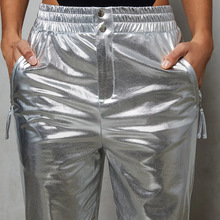 Silver Shiny Faux Leather Trousers Baggy
