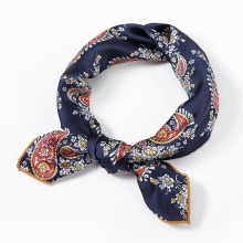 LEAYH Brand Women Small Bandanas Imitation Silk Scarf Square Shawls Handle Bag Ribbons Vintage Cashew Nuts Neckerchief 70*70cm