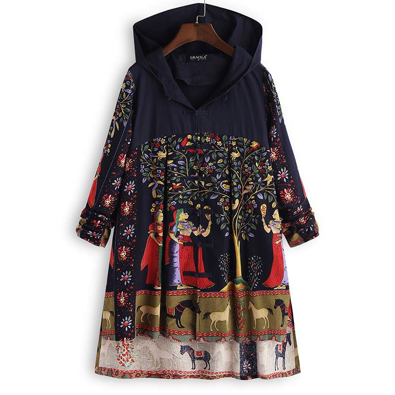 2018 Autumn Women Hoodies Sweatshirt Boho Floral Printed Long Sleeve Buttons Down Pullover Casual Vintage Hooded Coat Jackets