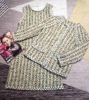 Двойка платье комплект Для женщин 2018 осень Винтаж плед печати аппликации вышивка пальто и платье Клетчатый костюм