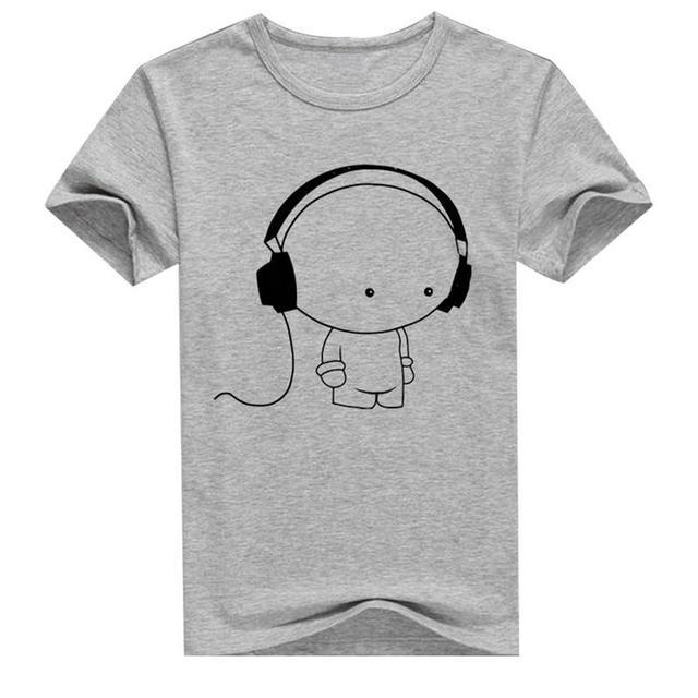 Fashion Young Men's Short Sleeve T-Shirt Headphone Man Print T-Shirt Casual Slim Fit Short Sleeve White Gray Black Dropship