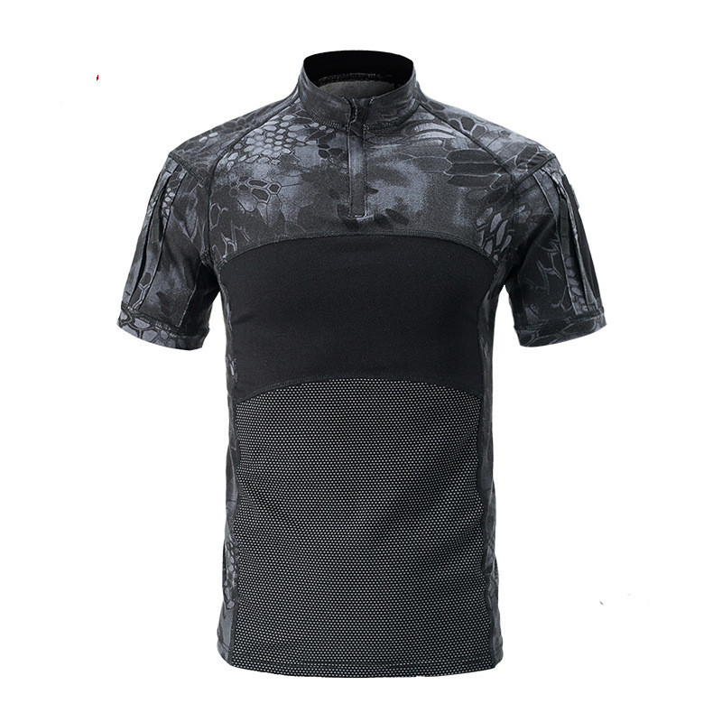 Outdoor Men Sports Camouflage Fast Dry Breathable T shirt Summer Riding Camping Climbing Army Training Pullover Tactical T Shirt