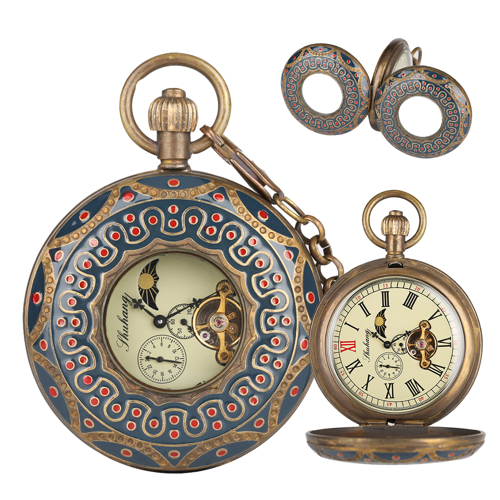Antique Hollow Pure Copper Mechanical Pocket Watch for Men Horizontal Phases Moon Sun 24-Hour Skeleton Watches Gift for WomenAntique Hollow Pure Copper Mechanical Pocket Watch for Men Horizontal Phases Moon Sun 24-Hour Skeleton Watches Gift for Women