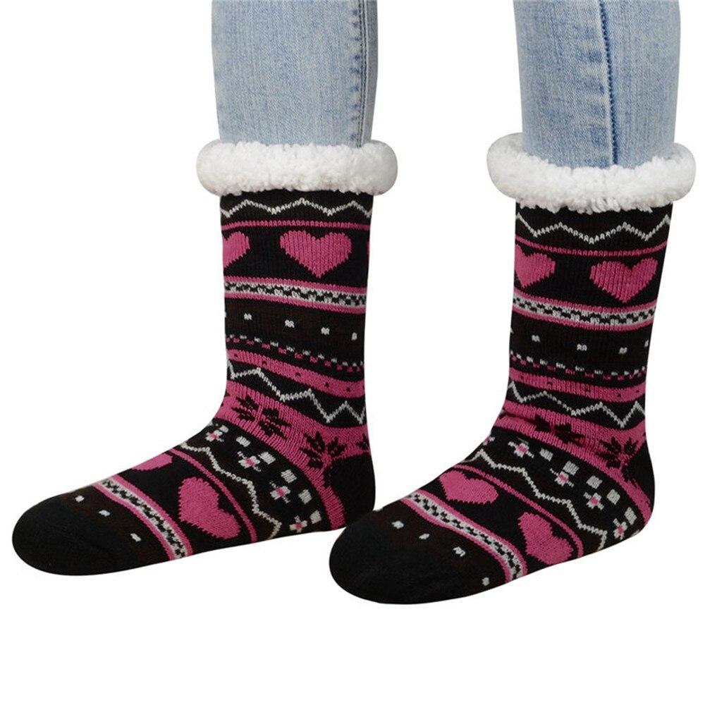 Christmas Fuzzy Socks.Us 4 61 20 Off Women Winter Slipper Socks Thicken Cashmere Warm Anti Slip Snow Socks Cute Christmas Fuzzy Socks In Sock Slippers From Underwear