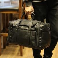 Black Man Business Big Package Portable Travelling Bag Boarding Handbag Luggage Package Oblique Satchel Large Capacity Bags PU