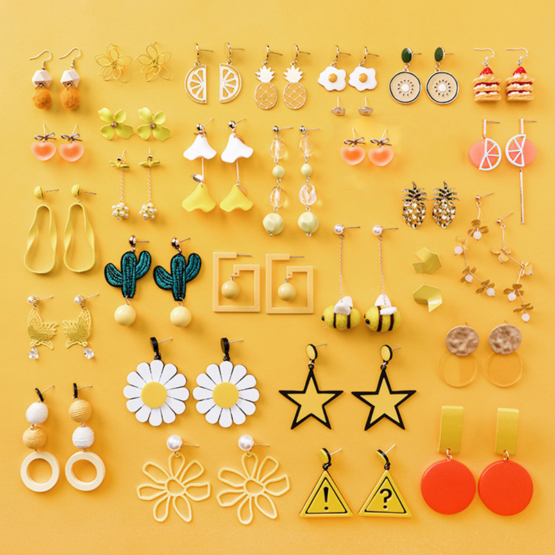 1Pair High Quality Food Geometric Sweet Fresh Summer Series Cactus Heart Yellow Long Orange Drop Earring Girl Gifts 22 Colors