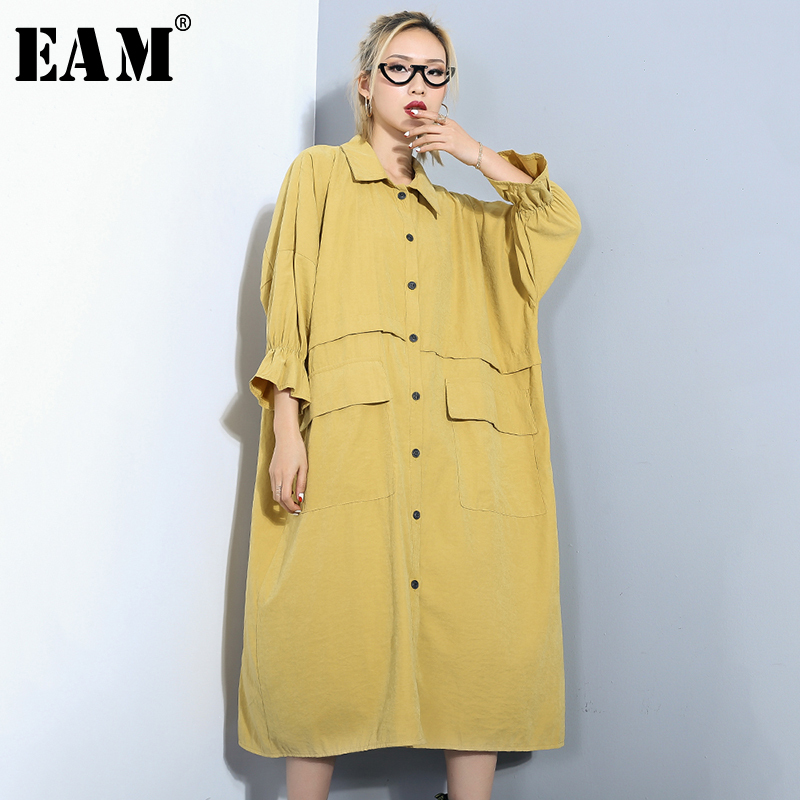 [EAM]2019 New Spring Summer Lapel Long Sleeve Black Loose Big Pocket Stitch Long Big Size Windbreaker Women   Trench   Fashion JQ037