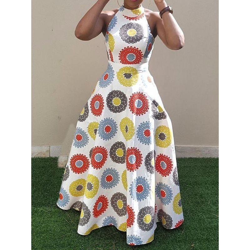 Sisjuly Летнее Длинное платье для женщин с цветочным принтом без рукавов длиной до пола сексуальное с открытой спиной Цвет Блок Белый Холтер Ма...