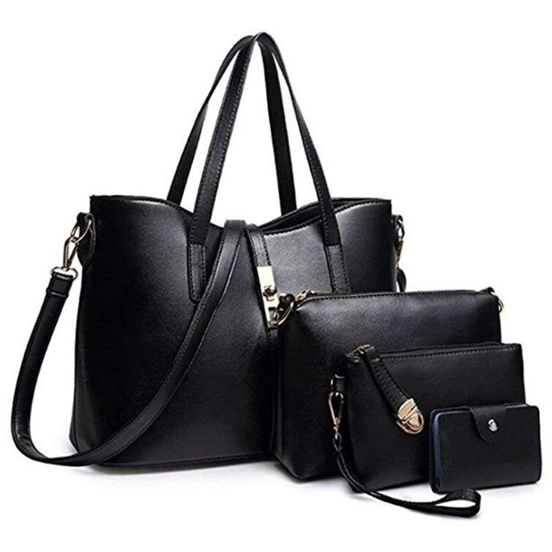 Fashion Women's PU Leather Handbag Shoulder Bag Purse Card Holder 4pcs Set Tote