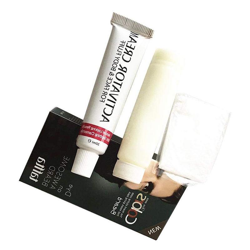 XY Fancy Men Mustache & Beard Dye Cream Fast Color Natural Black Beard Tint Cream