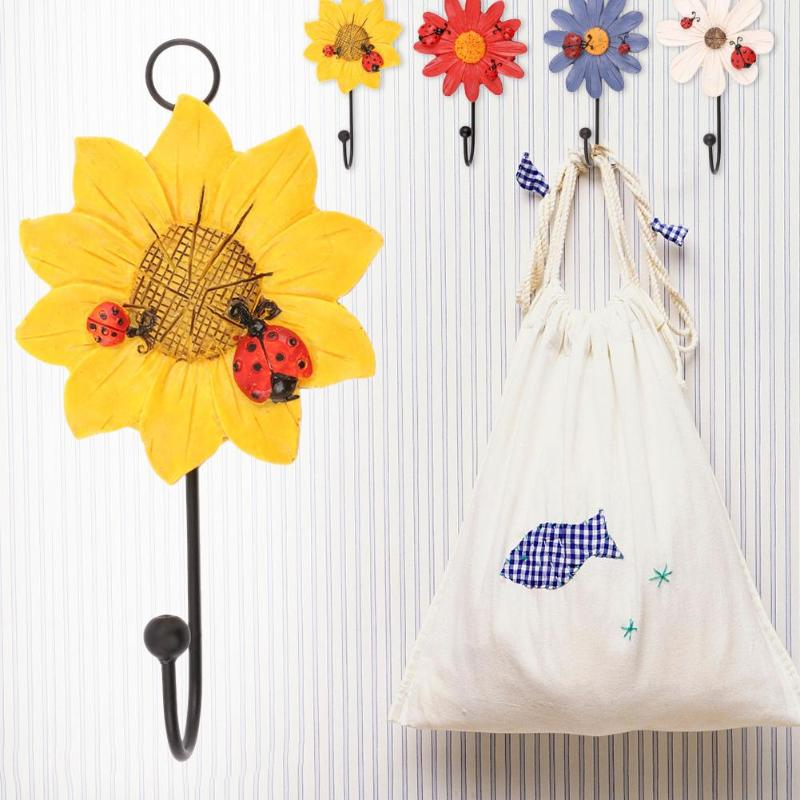 Resin Ornaments Flowers Sticker Adhesive Hook Wall Hanger Holder Home Kitchen Bathroom Living Room Organizer Hooks E5M1