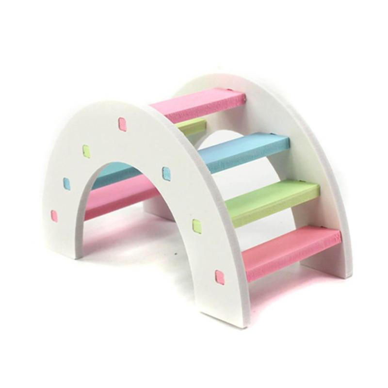 Cute Hamster Colorful Ladder Toys Small Animals Climbing Wood Rainbow Bridge Toy Pet Accessories 14 X 7 X 8cm/5.51 X 2.76 X 3.15