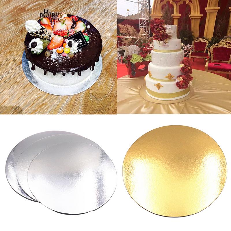 5PCS 8/10 Inch Round Cake Boards Food Grade Gold Card Board Baking Cake Hard Paper Pad Baking Making Tool