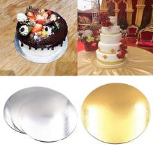5PCS 8/10 Inch Round Cake Boards Food Grade Gold Card Board Baking Hard Paper Pad Making Tool
