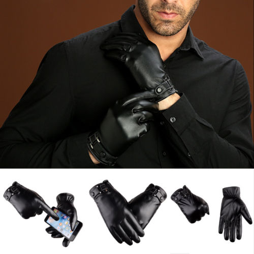 US Stock Leather Gloves Full Finger Men Driving Outdoor Winter Warm Screen Touch