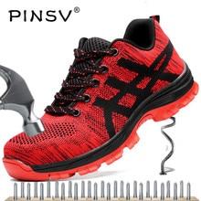 Защитные рабочие ботинки со стальным носком; Мужская защитная обувь; унисекс; Рабочая обувь из сетчатого материала; мужские ботинки; большие размеры 35-46; PINSV