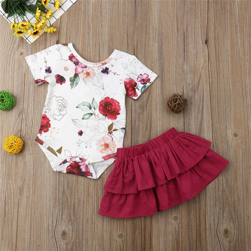 0e7f9fbf4dfb4 Cute Newborn Baby Girls Sets Floral Short Sleeve Bodysuits Carters  Tops+Ruffles Gown Tutu Skirts 2Pcs Bebe Girl Outfits Clothes