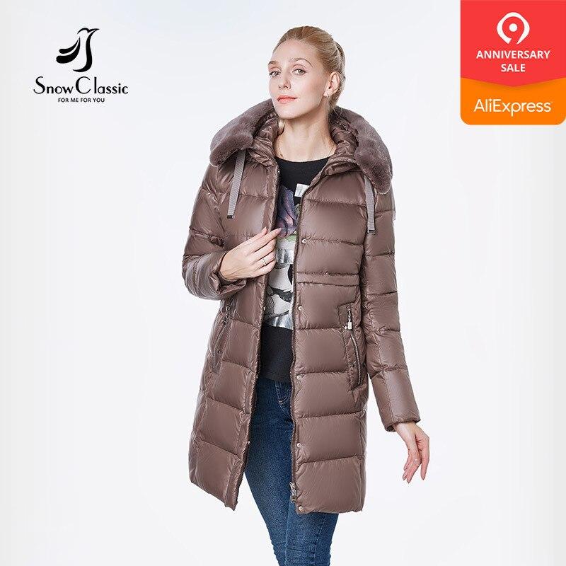 SnowClassic 2018 New Winter Long Women s Coat Coat Thick Clam Rabbit Hair Hat Windproof European