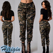 Women Casual Pants Sports Long Pencil Camouflage pants Elastic High Waist Slim Fit Trousers