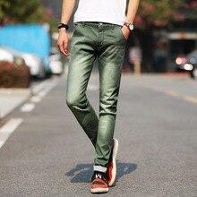 f0c9e9d55f Vaqueros Skinny Hombre 2019 de moda elástico Jeans Casual chaqueta vaquera verde  pantalones vaqueros Slim azul. 6 colores disponibles