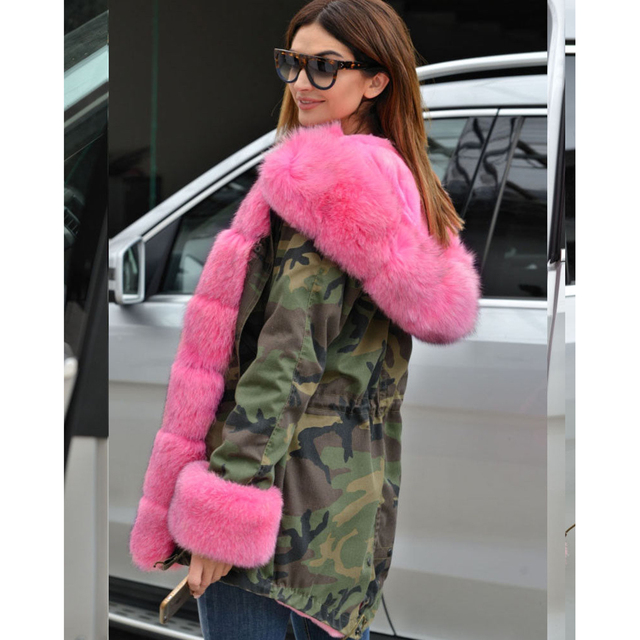Plus Size 5XL Pink Fur Camo Parka Coat Women Military Fur Hooded Faux Fur  Liner Warm Jacket 2018 Autumn Winter Overcoat Femme 48e8366684