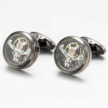 все цены на  2017 Worldwide Fashion cufflinks Men Steampunk Gear Watch Cufflinks Zinc Alloy Suits Wedding cufflinks for mens gemelos онлайн