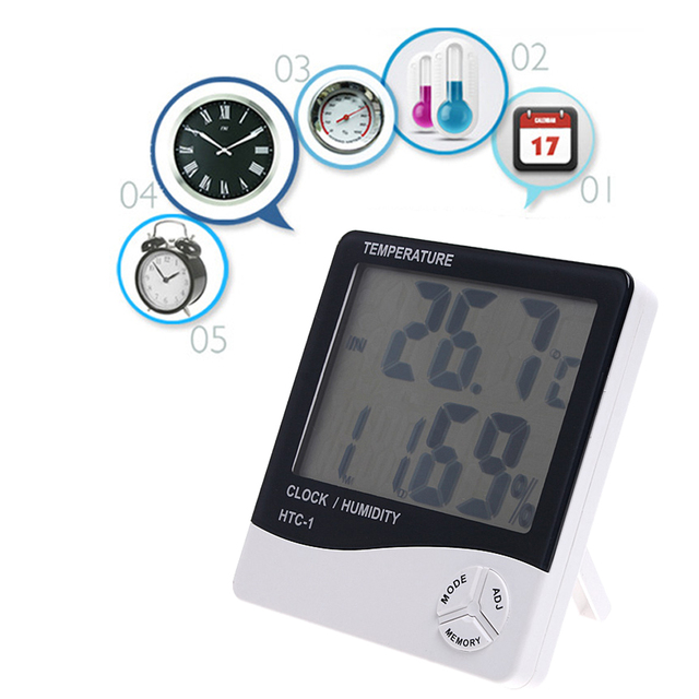 LCD Digital Thermometer Hygrometer Temperature Humidity Meter Alarm Clock Calendar C F Selectable Weather Station HTC-1