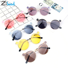 Zilead Individual Retro Small Light-Colored Cute Round Ear Metal Frame Sunglasses Children Kids UV400 Sun Glasses Boys Girls