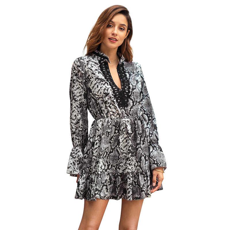 0c58e0ccc83f Sexy Leopard Dress 2019 Autumn Women Python Leopard Print Dress V Neck Long  Flare Sleeve Lace