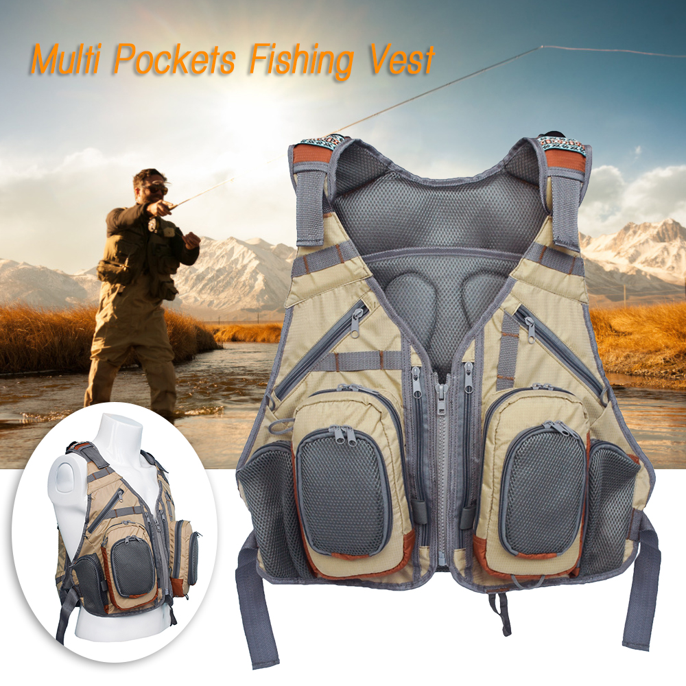Outdoor Fishing Vest Backpack Multi Pocket Breathable Mesh Fishing Vest Pack Waistcoat Coat Outdoor Backpack Overalls