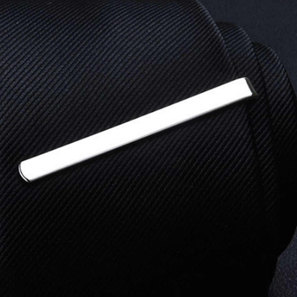 1 個ファッションタイクリップ男性メタルスシルバーゴールドトーンシンプルなバークラスプ実用ネクタイクラスプ紳士ネクタイバーギフトのための